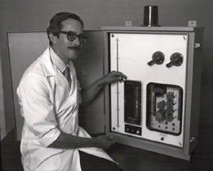 Andy Irvin in front of Electrogage control panel